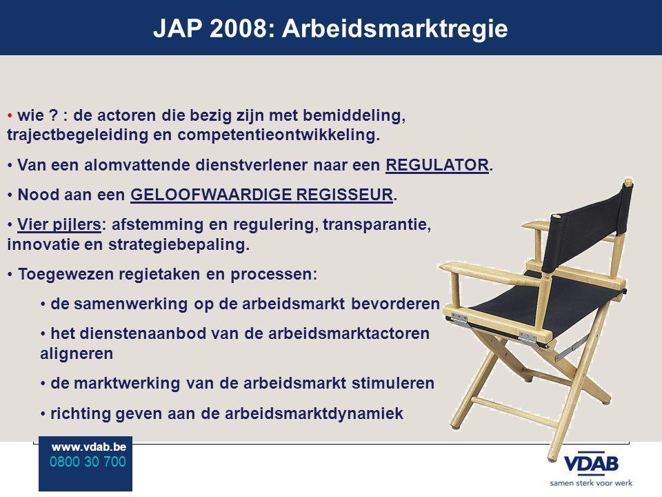 www.vdab.be 0800 30 700 JAP 2008: Arbeidsmarktregie www.vdab.be 0800 30 700 wie ? : de actoren die bezig zijn met bemiddeling, trajectbegeleiding en c