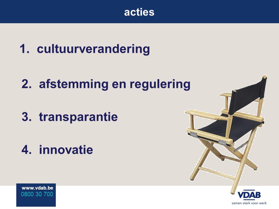 www.vdab.be 0800 30 700 www.vdab.be 0800 30 700 acties 1. cultuurverandering 2. afstemming en regulering 4. innovatie 3. transparantie