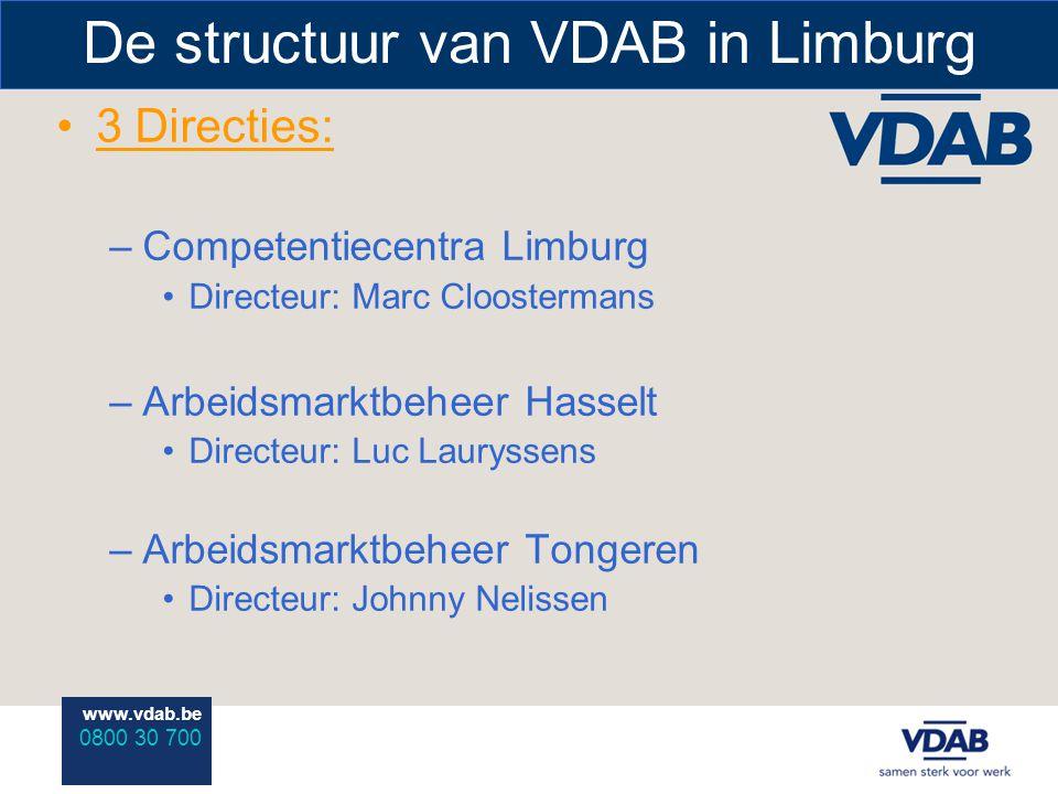 www.vdab.be 0800 30 700 De structuur van VDAB in Limburg 3 Directies: –Competentiecentra Limburg Directeur: Marc Cloostermans –Arbeidsmarktbeheer Hass