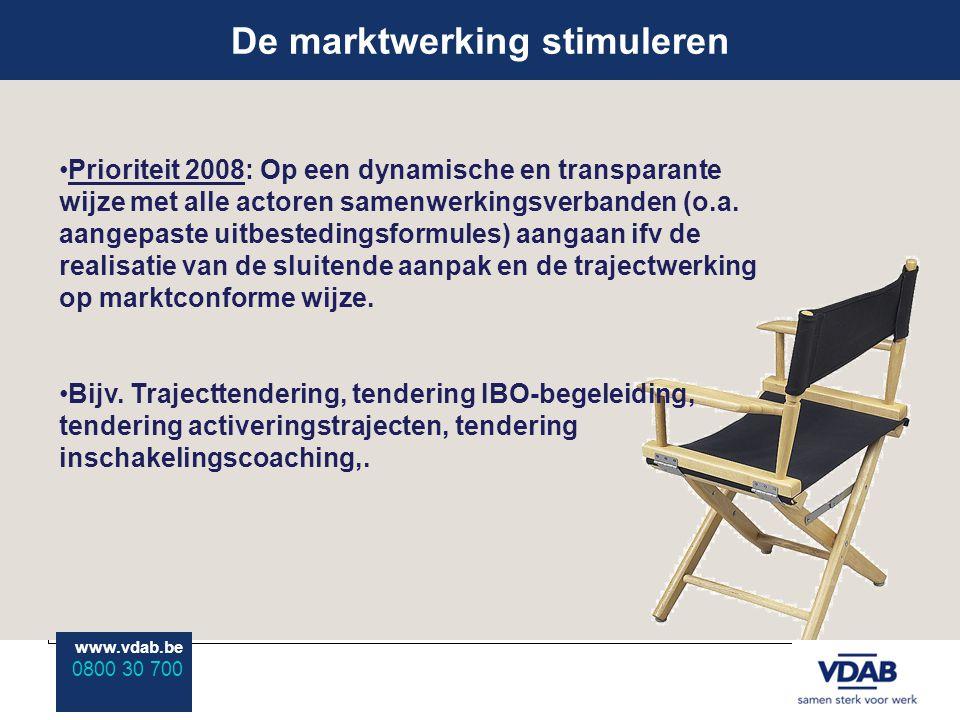 www.vdab.be 0800 30 700 De marktwerking stimuleren www.vdab.be 0800 30 700 Prioriteit 2008: Op een dynamische en transparante wijze met alle actoren samenwerkingsverbanden (o.a.