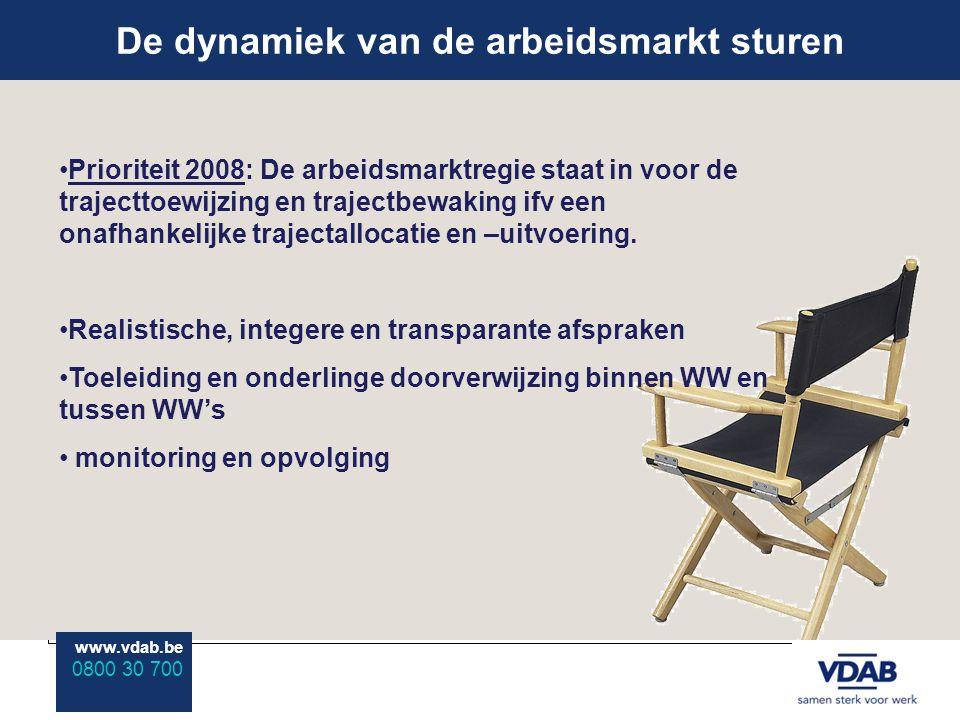 www.vdab.be 0800 30 700 De dynamiek van de arbeidsmarkt sturen www.vdab.be 0800 30 700 Prioriteit 2008: De arbeidsmarktregie staat in voor de trajecttoewijzing en trajectbewaking ifv een onafhankelijke trajectallocatie en –uitvoering.