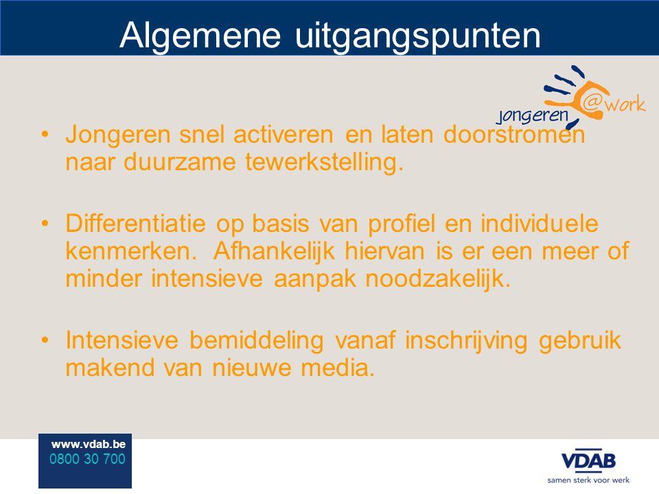www.vdab.be 0800 30 700 Algemene uitgangspunten Jongeren snel activeren en laten doorstromen naar duurzame tewerkstelling. Differentiatie op basis van