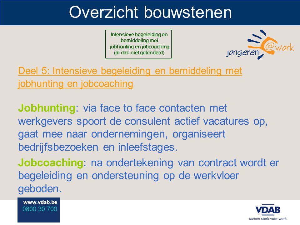 www.vdab.be 0800 30 700 Overzicht bouwstenen Deel 5: Intensieve begeleiding en bemiddeling met jobhunting en jobcoaching Jobhunting: via face to face