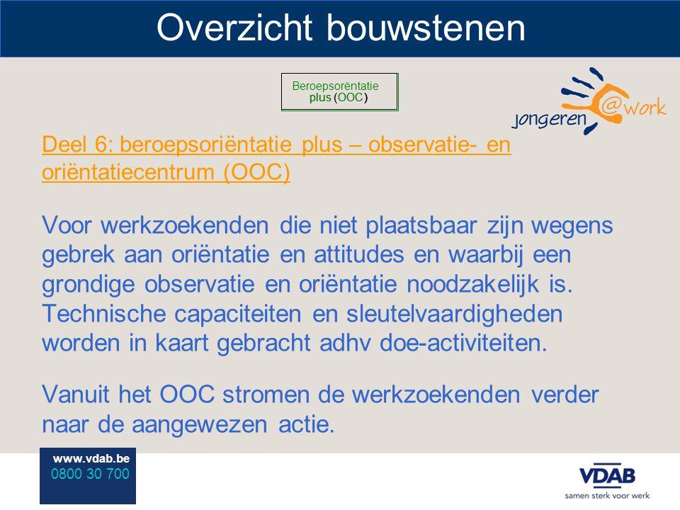 www.vdab.be 0800 30 700 Overzicht bouwstenen Deel 6: beroepsoriëntatie plus – observatie- en oriëntatiecentrum (OOC) Voor werkzoekenden die niet plaatsbaar zijn wegens gebrek aan oriëntatie en attitudes en waarbij een grondige observatie en oriëntatie noodzakelijk is.