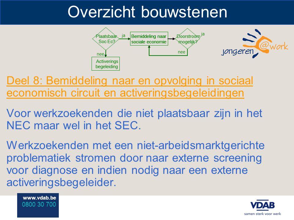 www.vdab.be 0800 30 700 Overzicht bouwstenen Deel 8: Bemiddeling naar en opvolging in sociaal economisch circuit en activeringsbegeleidingen Voor werkzoekenden die niet plaatsbaar zijn in het NEC maar wel in het SEC.