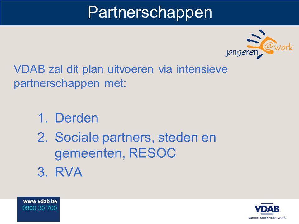 www.vdab.be 0800 30 700 Partnerschappen VDAB zal dit plan uitvoeren via intensieve partnerschappen met: 1.Derden 2.Sociale partners, steden en gemeenten, RESOC 3.RVA