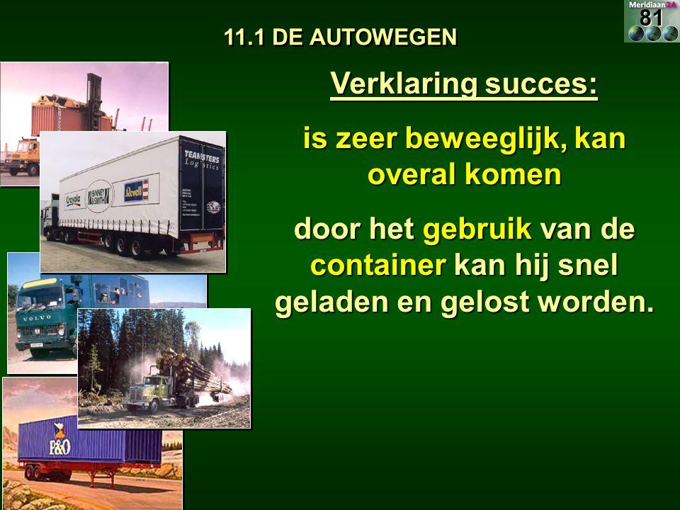 11.1 DE AUTOWEGEN Verklaring succes: is zeer beweeglijk, kan overal komen door het gebruik van de container kan hij snel geladen en gelost worden. 81