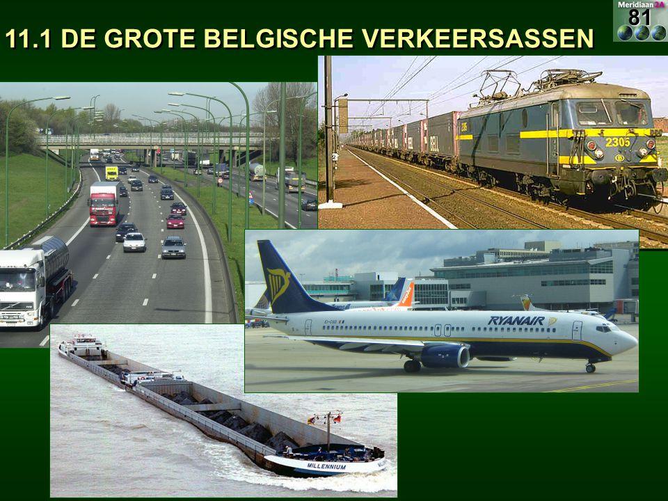 H.S.T.= Hoge snelheidstrein Belang voor binnenlands spoorverkeer:  Weinig of geen, er zijn slechts enkele opstapplaatsen Internationale bestemmingen 83 11.1.3 DE SPOORWEGEN IN BELGIË