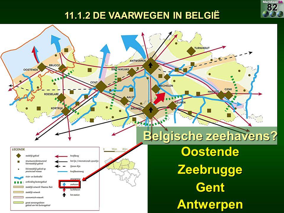 11.1.2 DE VAARWEGEN IN BELGIË Belgische zeehavens? Oostende Zeebrugge Gent Antwerpen82