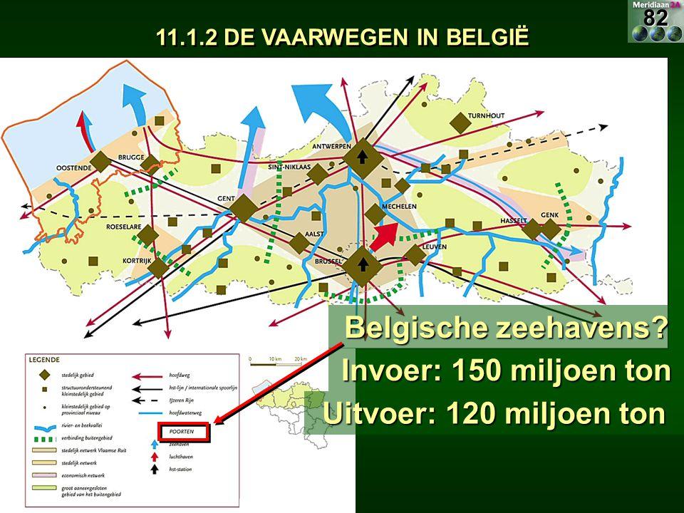 11.1.2 DE VAARWEGEN IN BELGIË Belgische zeehavens? Invoer: 150 miljoen ton Uitvoer: 120 miljoen ton 82