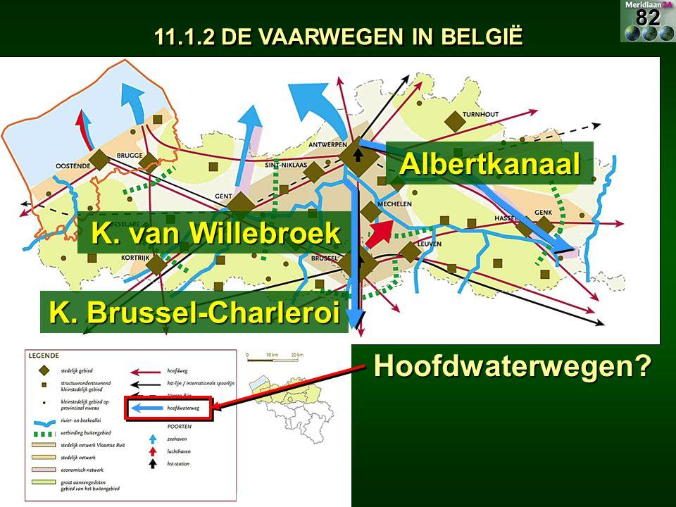 11.1.2 DE VAARWEGEN IN BELGIË Hoofdwaterwegen? K. van Willebroek K. Brussel-Charleroi Albertkanaal82
