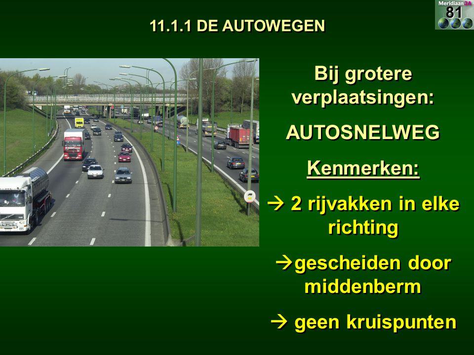11.1.1 DE AUTOWEGEN Bij grotere verplaatsingen: AUTOSNELWEG Kenmerken:  2 rijvakken in elke richting  gescheiden door middenberm  geen kruispunten