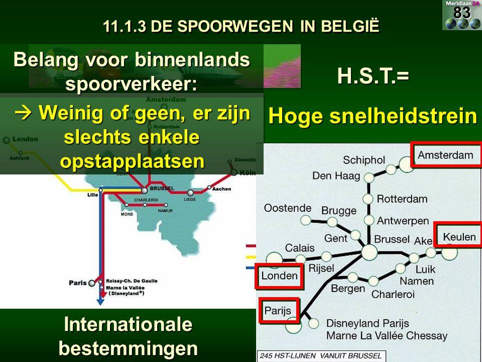 H.S.T.= Hoge snelheidstrein Belang voor binnenlands spoorverkeer:  Weinig of geen, er zijn slechts enkele opstapplaatsen Internationale bestemmingen