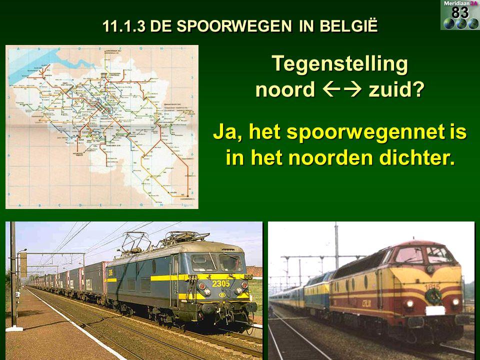 11.1.3 DE SPOORWEGEN IN BELGIË Tegenstelling noord  zuid? Ja, het spoorwegennet is in het noorden dichter. 83