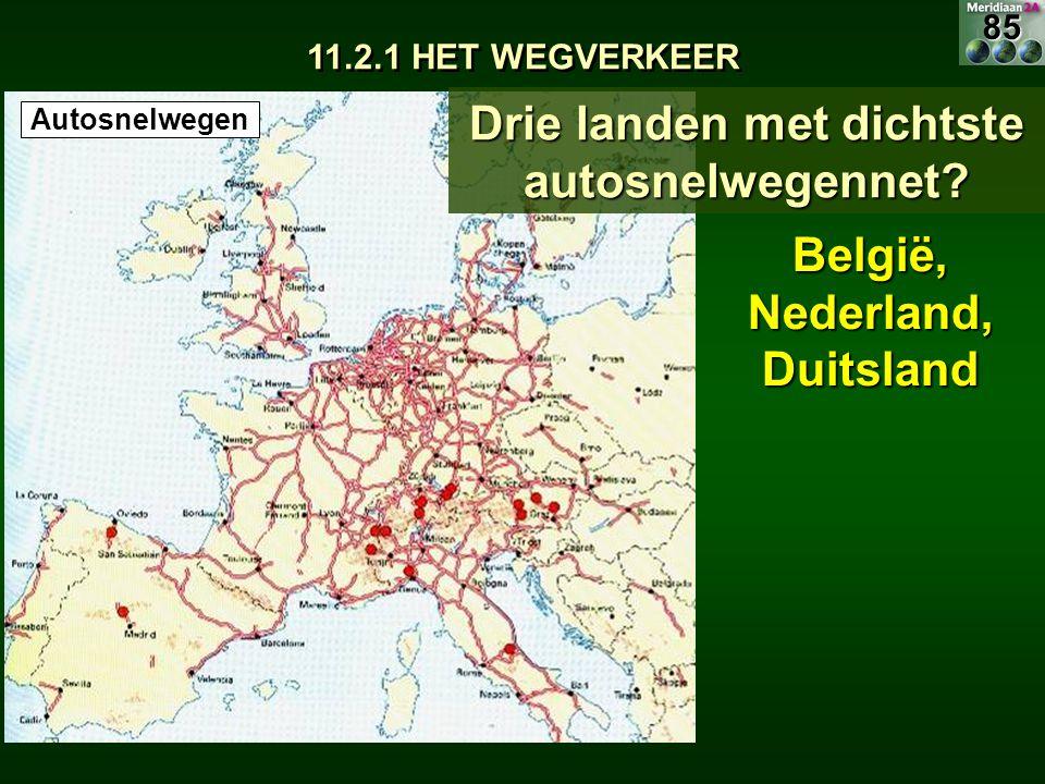 11.2.1 HET WEGVERKEER Drie landen met dichtste autosnelwegennet? België, Nederland, Duitsland Autosnelwegen85