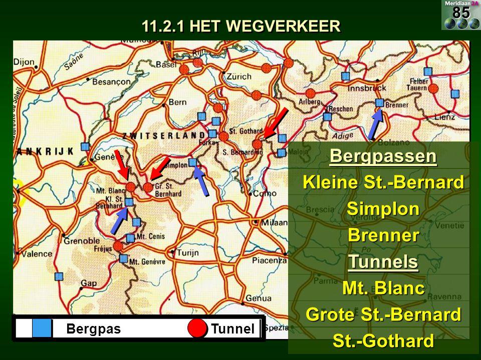 BergpasTunnel Bergpassen Kleine St.-Bernard Simplon Brenner Tunnels Mt. Blanc Grote St.-Bernard St.-Gothard 11.2.1 HET WEGVERKEER 85