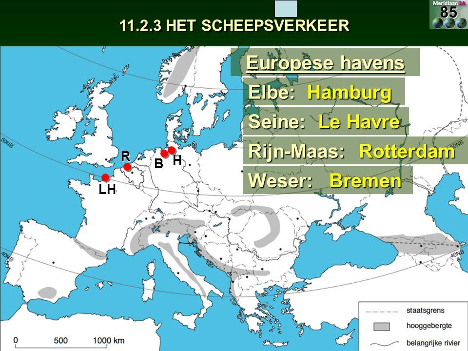11.2.3 HET SCHEEPSVERKEER Europese havens Elbe:Hamburg Seine: Le Havre H LH Rijn-Maas:Rotterdam R Weser:Bremen B85