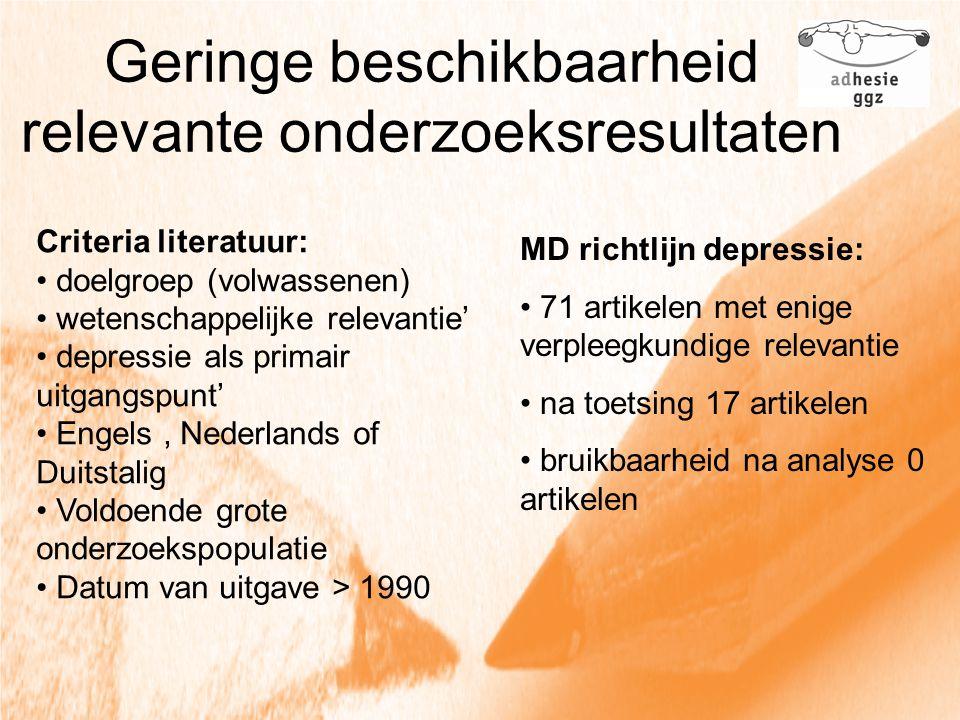Geringe beschikbaarheid relevante onderzoeksresultaten Criteria literatuur: doelgroep (volwassenen) wetenschappelijke relevantie' depressie als primai