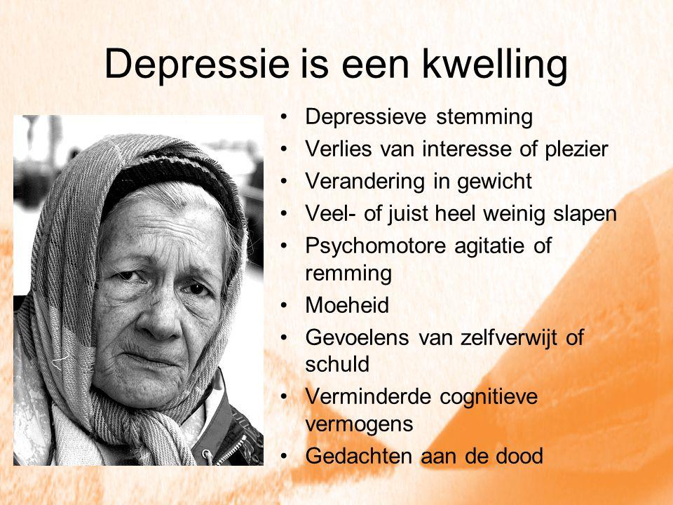 Depressie is een kwelling Depressieve stemming Verlies van interesse of plezier Verandering in gewicht Veel- of juist heel weinig slapen Psychomotore