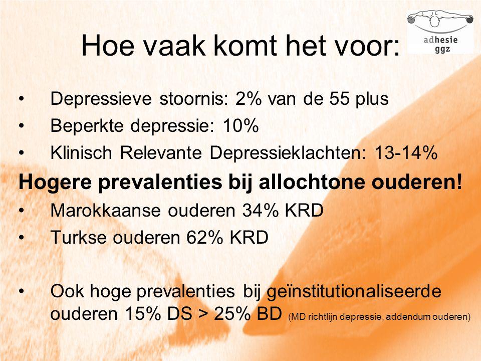 Hoe vaak komt het voor: Depressieve stoornis: 2% van de 55 plus Beperkte depressie: 10% Klinisch Relevante Depressieklachten: 13-14% Hogere prevalenti
