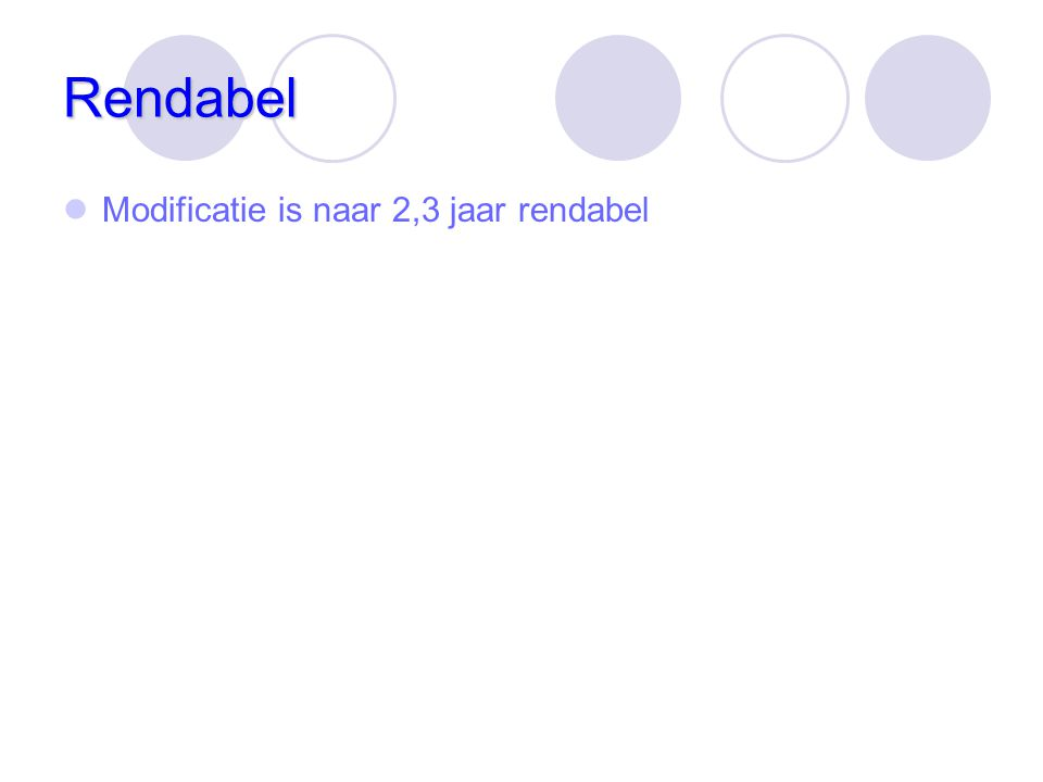 Rendabel Modificatie is naar 2,3 jaar rendabel