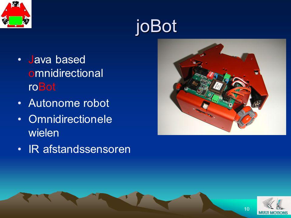 10 joBot Java based omnidirectional roBot Autonome robot Omnidirectionele wielen IR afstandssensoren