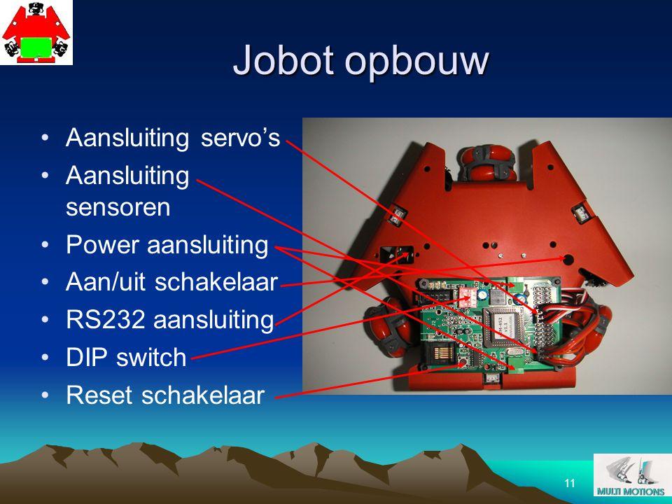 11 Jobot opbouw Aansluiting servo's Aansluiting sensoren Power aansluiting Aan/uit schakelaar RS232 aansluiting DIP switch Reset schakelaar