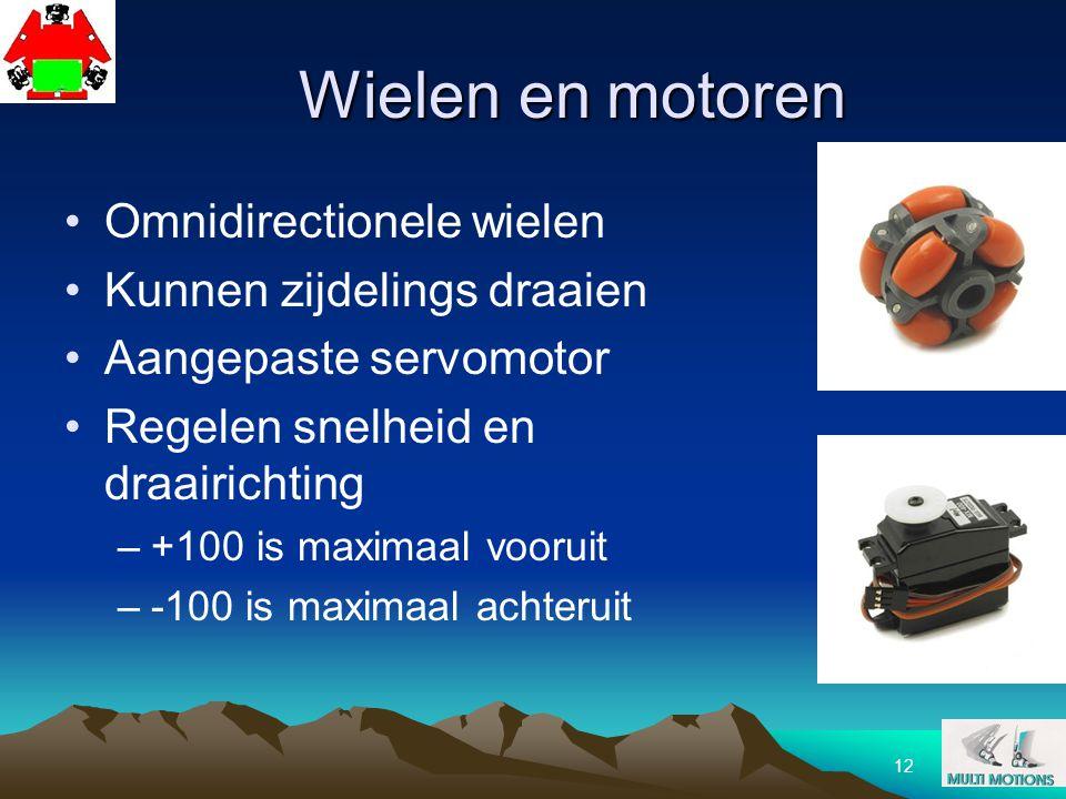 12 Wielen en motoren Omnidirectionele wielen Kunnen zijdelings draaien Aangepaste servomotor Regelen snelheid en draairichting –+100 is maximaal vooru