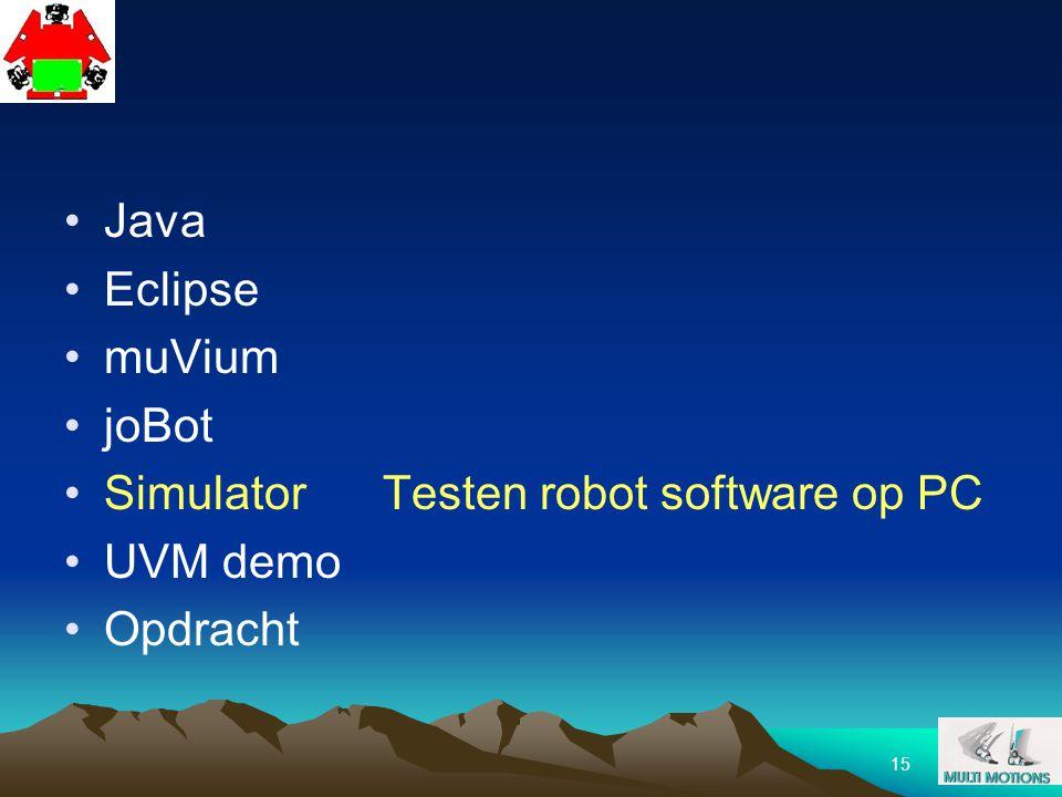 15 Java Eclipse muVium joBot SimulatorTesten robot software op PC UVM demo Opdracht