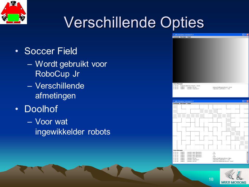 18 Verschillende Opties Soccer Field –Wordt gebruikt voor RoboCup Jr –Verschillende afmetingen Doolhof –Voor wat ingewikkelder robots