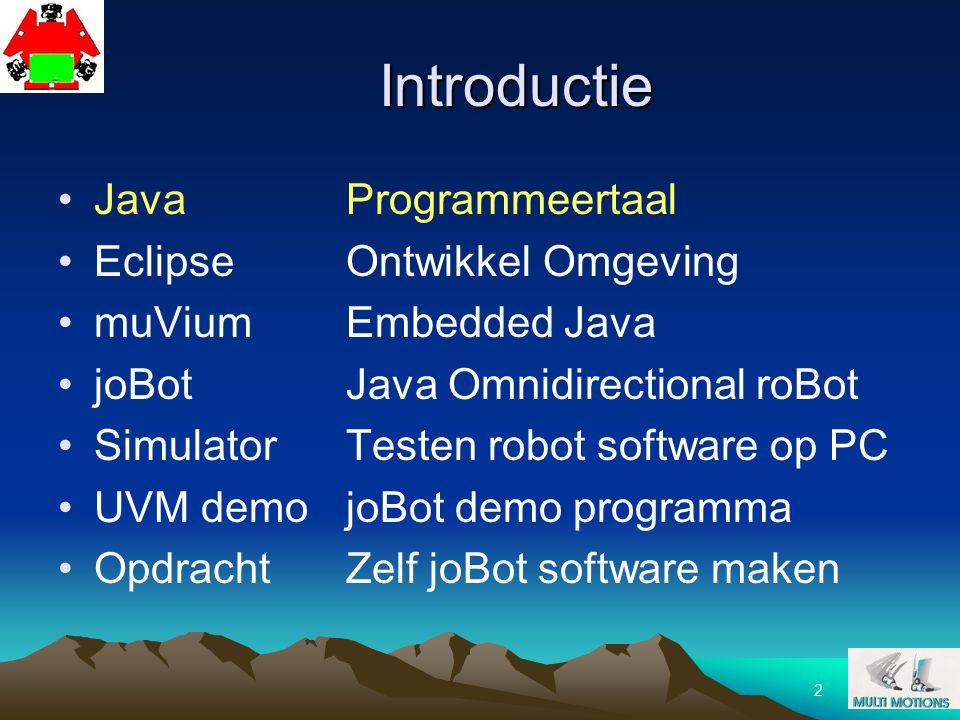 2 Introductie JavaProgrammeertaal EclipseOntwikkel Omgeving muViumEmbedded Java joBotJava Omnidirectional roBot SimulatorTesten robot software op PC U