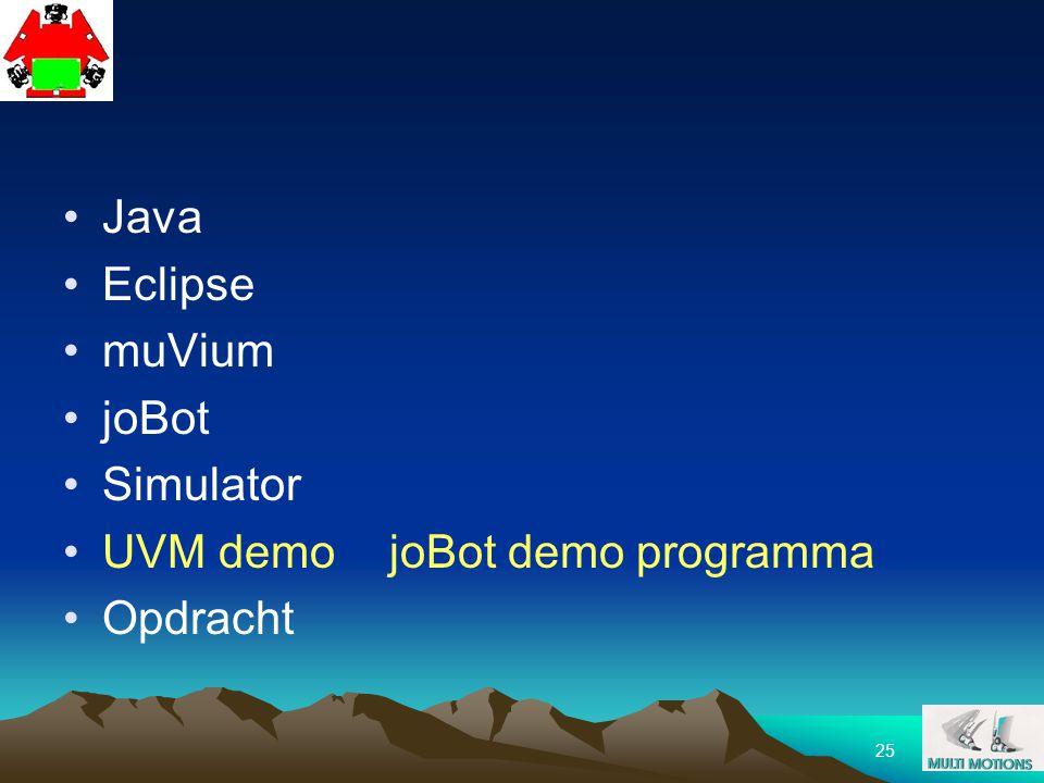 25 Java Eclipse muVium joBot Simulator UVM demo joBot demo programma Opdracht