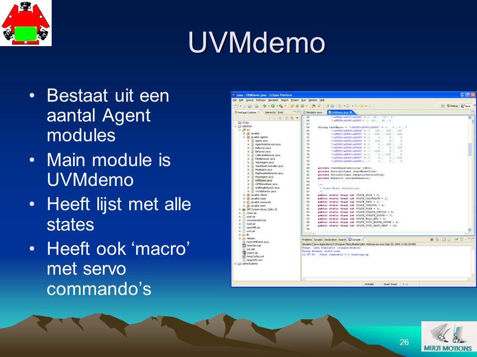 26 UVMdemo Bestaat uit een aantal Agent modules Main module is UVMdemo Heeft lijst met alle states Heeft ook 'macro' met servo commando's