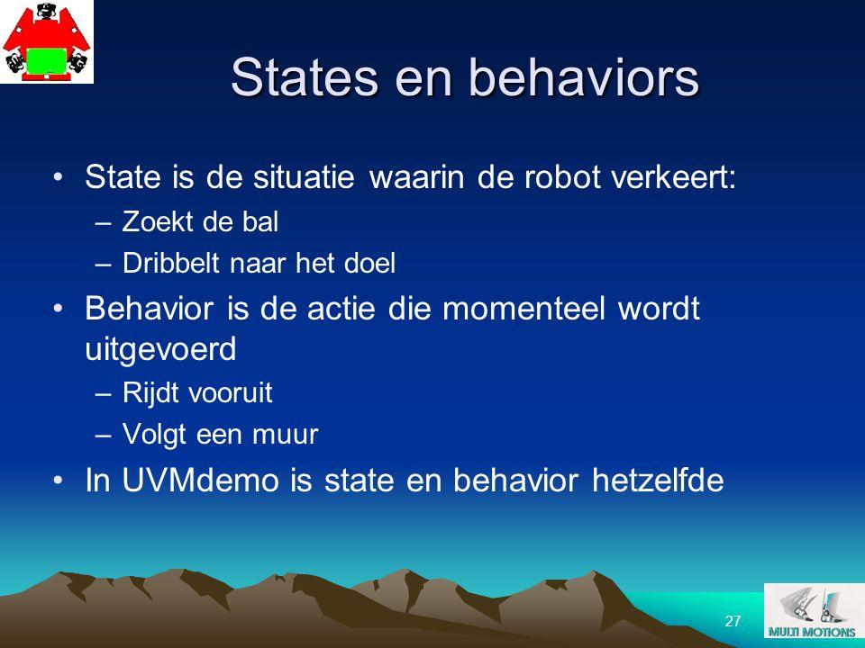 27 States en behaviors State is de situatie waarin de robot verkeert: –Zoekt de bal –Dribbelt naar het doel Behavior is de actie die momenteel wordt u