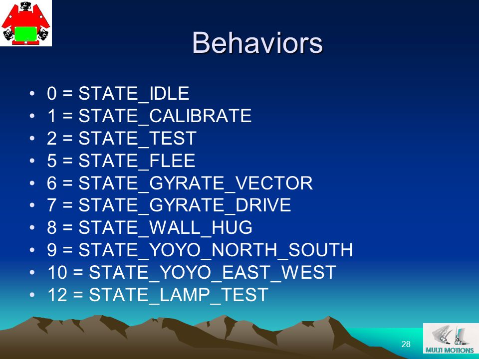 28 Behaviors 0 = STATE_IDLE 1 = STATE_CALIBRATE 2 = STATE_TEST 5 = STATE_FLEE 6 = STATE_GYRATE_VECTOR 7 = STATE_GYRATE_DRIVE 8 = STATE_WALL_HUG 9 = ST