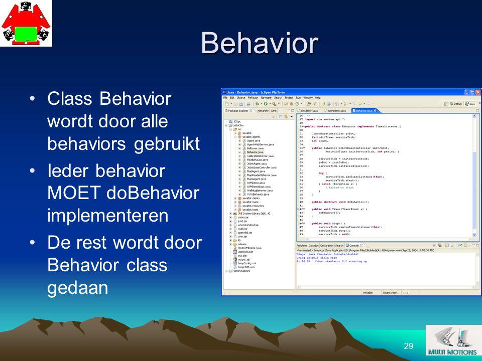 29 Behavior Class Behavior wordt door alle behaviors gebruikt Ieder behavior MOET doBehavior implementeren De rest wordt door Behavior class gedaan