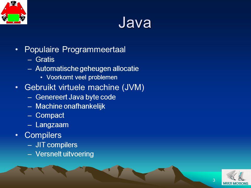 3 Java Populaire Programmeertaal –Gratis –Automatische geheugen allocatie Voorkomt veel problemen Gebruikt virtuele machine (JVM) –Genereert Java byte