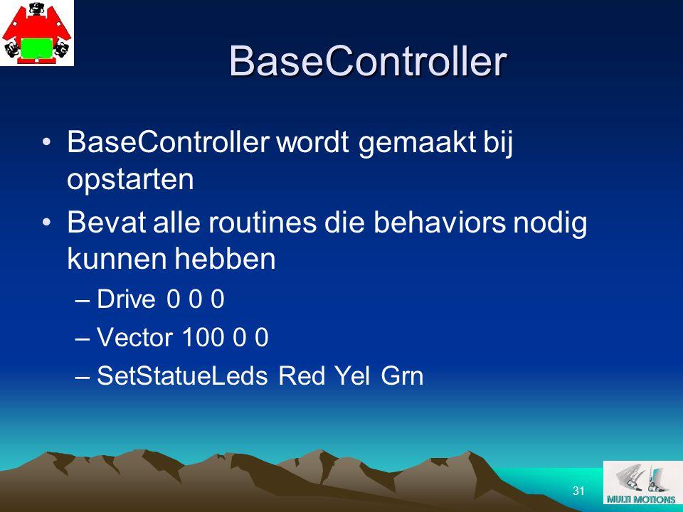 31 BaseController BaseController wordt gemaakt bij opstarten Bevat alle routines die behaviors nodig kunnen hebben –Drive 0 0 0 –Vector 100 0 0 –SetSt