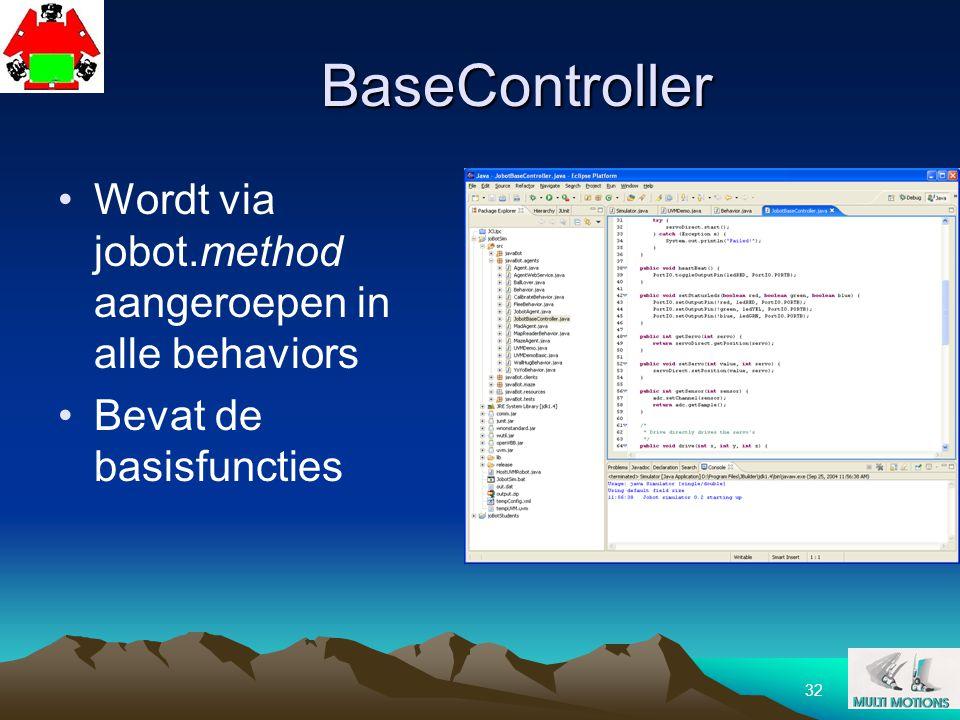 32 BaseController Wordt via jobot.method aangeroepen in alle behaviors Bevat de basisfuncties