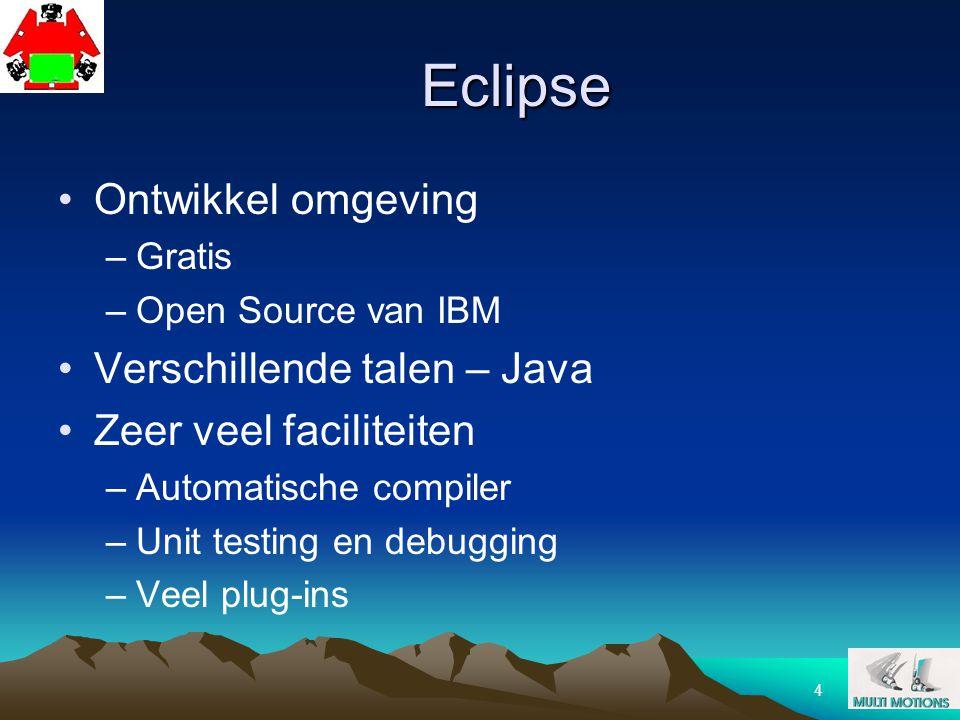 4 Eclipse Ontwikkel omgeving –Gratis –Open Source van IBM Verschillende talen – Java Zeer veel faciliteiten –Automatische compiler –Unit testing en de