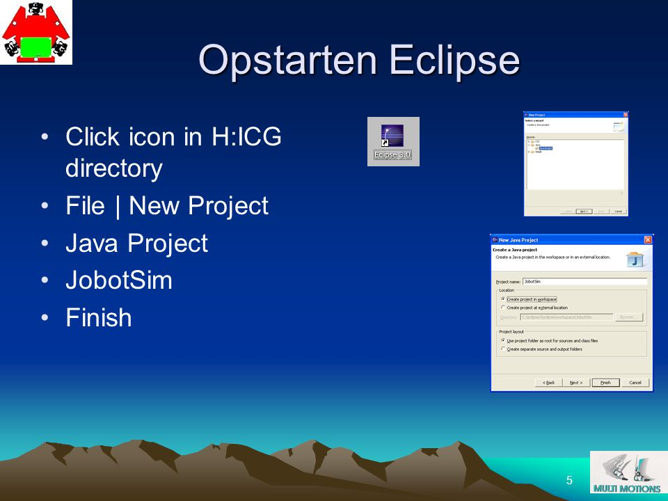 36 Java Eclipse muVium joBot Simulator UVM demo Opdracht Zelf joBot software maken