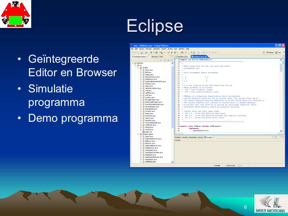 37 Opdracht Start machine en Eclipse Test Simulator en UVMdemo Test joBot functies Bestudeer FLEE behavior Maak nieuwe CURIOUS behavior Test in simulator Programmeer joBot Test met joBot