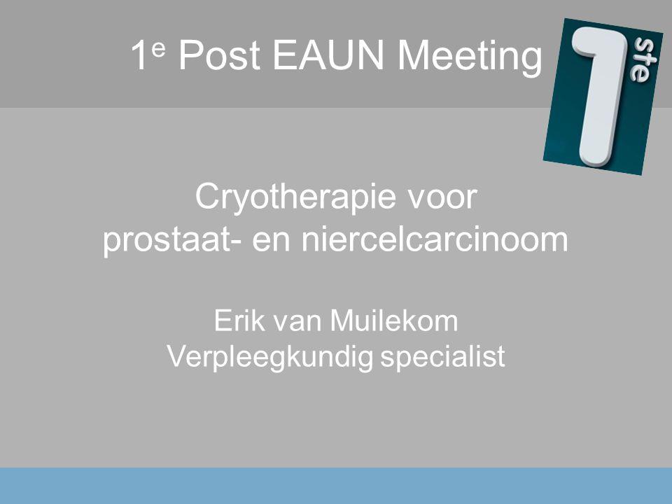 1 e Post EAUN Meeting Cryotherapie voor prostaat- en niercelcarcinoom Erik van Muilekom Verpleegkundig specialist