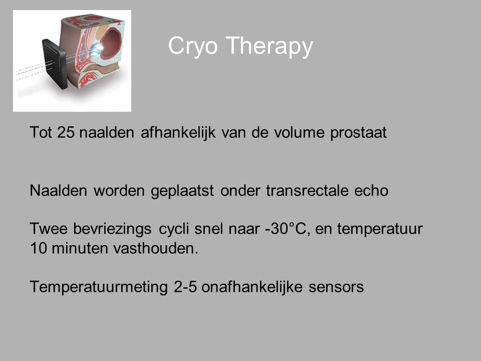 Cryo Therapy Tot 25 naalden afhankelijk van de volume prostaat Naalden worden geplaatst onder transrectale echo Twee bevriezings cycli snel naar -30°C