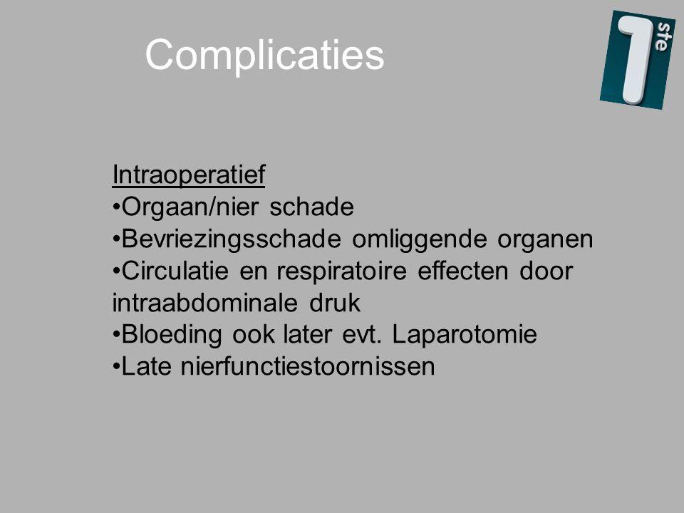 Complicaties Intraoperatief Orgaan/nier schade Bevriezingsschade omliggende organen Circulatie en respiratoire effecten door intraabdominale druk Bloe
