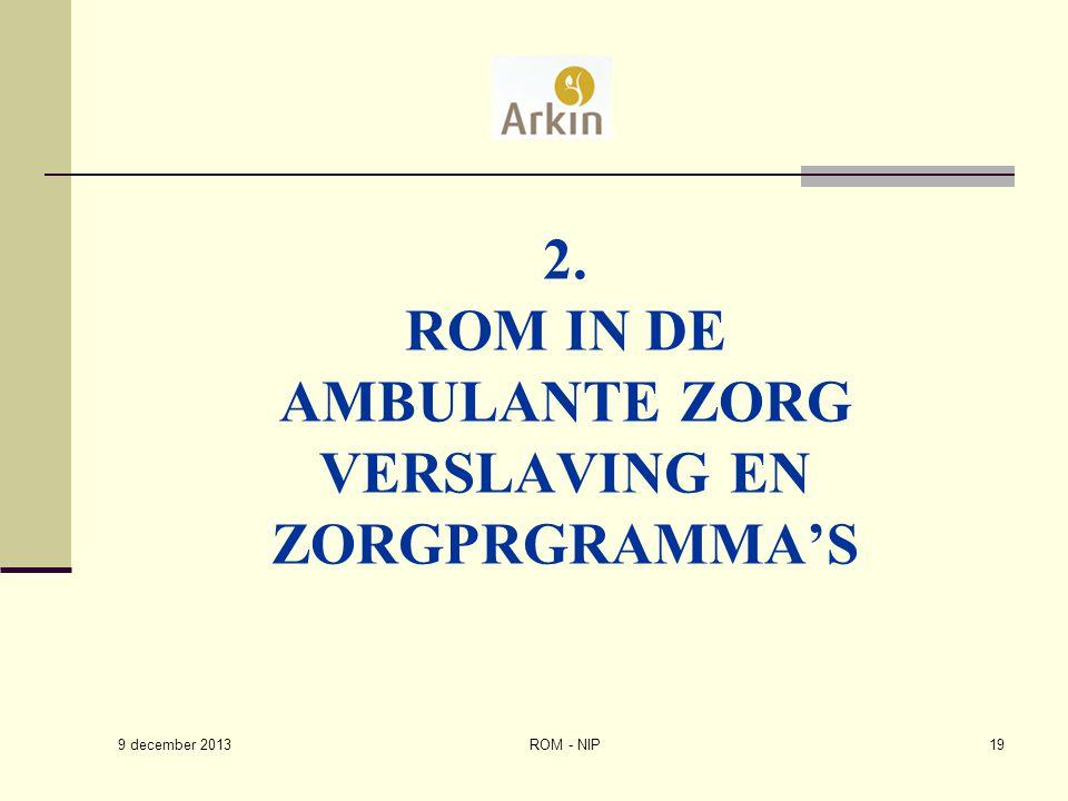 2. ROM IN DE AMBULANTE ZORG VERSLAVING EN ZORGPRGRAMMA'S ROM - NIP19 9 december 2013