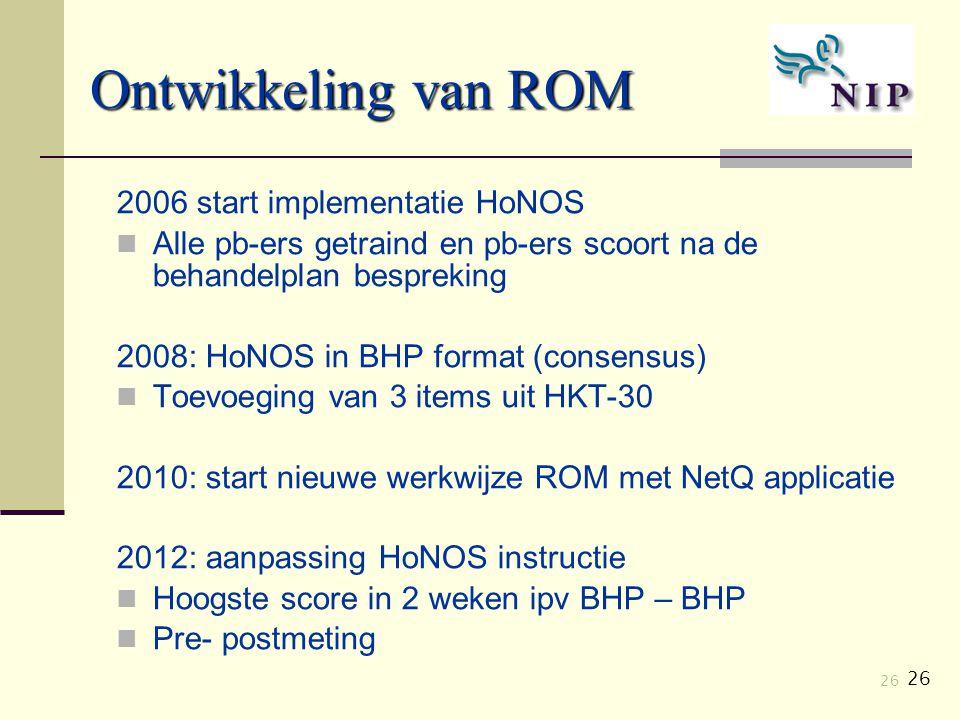 26 Ontwikkeling van ROM 2006 start implementatie HoNOS Alle pb-ers getraind en pb-ers scoort na de behandelplan bespreking 2008: HoNOS in BHP format (