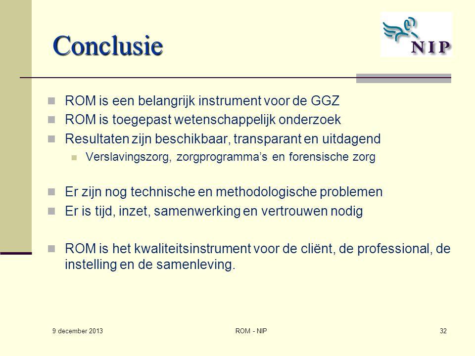 Conclusie ROM is een belangrijk instrument voor de GGZ ROM is toegepast wetenschappelijk onderzoek Resultaten zijn beschikbaar, transparant en uitdage