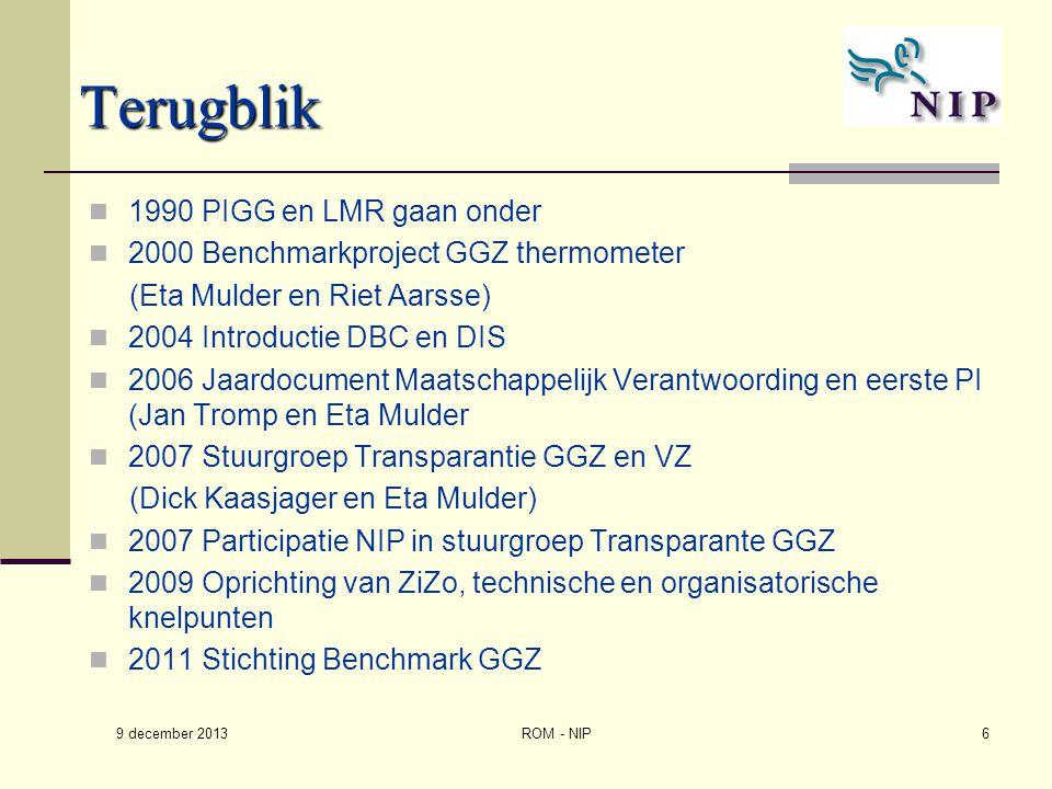 Terugblik 1990 PIGG en LMR gaan onder 2000 Benchmarkproject GGZ thermometer (Eta Mulder en Riet Aarsse) 2004 Introductie DBC en DIS 2006 Jaardocument