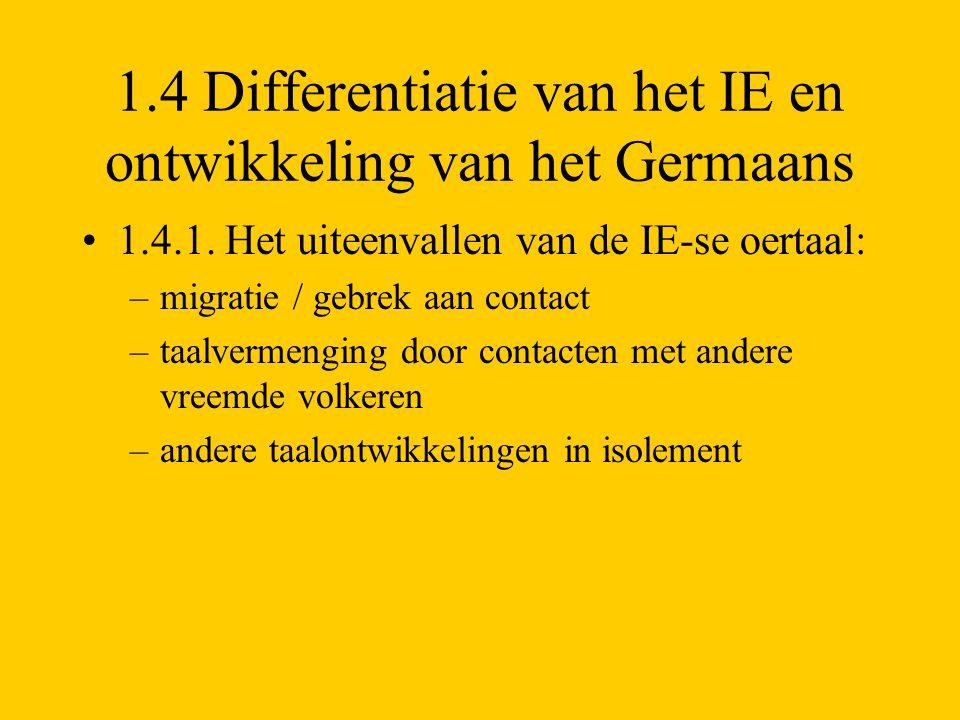 1.4 Differentiatie van het IE en ontwikkeling van het Germaans 1.4.1. Het uiteenvallen van de IE-se oertaal: –migratie / gebrek aan contact –taalverme